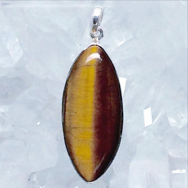 Tiger Eye Sterling Silver Marquis Pendant  - New Earth Gifts and Beads
