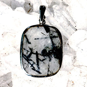 Tourmalinated Quartz Faceted Square Sterling Pendant | New Earth Gift