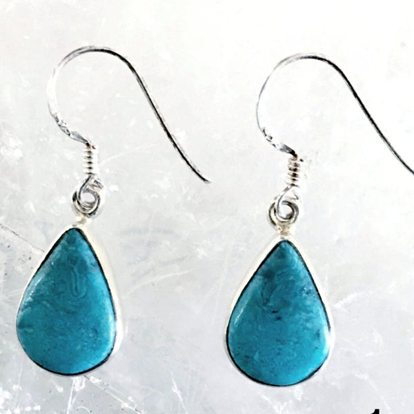 "Stunning Blue Turquoise Earrings Tear Drop Style are a gorgeous blue color. Tear drop shape includes slight amount of typical Turquoise veining. 1.25"" long - New Earth Gifts"