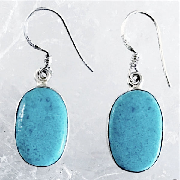 Sterling Blue Turquoise Oval Earrings - New Earth Gifts and Beads