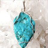 Turquoise Pendant Sterling Wire Wrap - New Earth Gifts