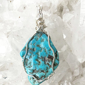 Turquoise Blue Nevada Pendant Sterling Wire Wrap - New Earth Gifts