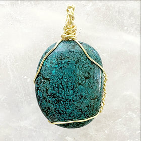 Turquoise Polish Pendant Gold Wire Wrap Southwestern Jewelry | New Earth Gifts