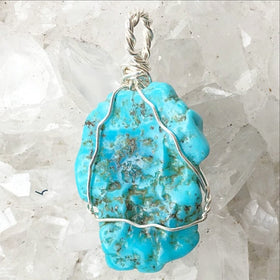 Turquoise Nevada Blue Pendant Sterling Wire Wrap - New Earth Gifts