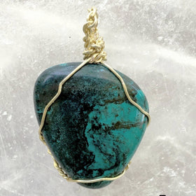 Turquoise Polish Pendant Gold Wire Wrap Southwestern - New Earth Gifts