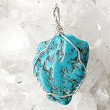 Blue Turquoise Pendant on Sterling  Wire Wrap - New Earth Gifts