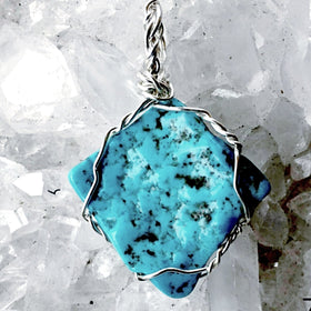 Blue Turquoise Pendant on Silver Wire Wrap - New Earth Gifts