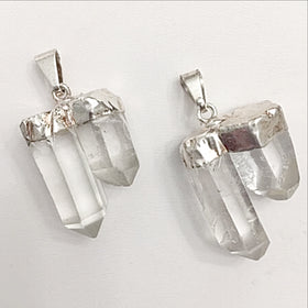 double quartz points pendant - new earth gifts