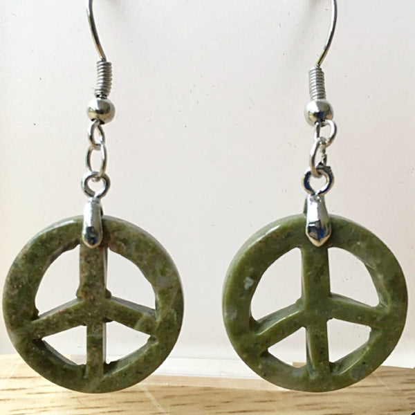 Peace Sign Unakite Dangle Earrings - New Earth Gifts