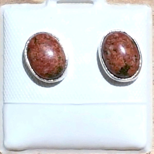 Unakite Sterling Silver Stud Earrings | New Earth Gifts