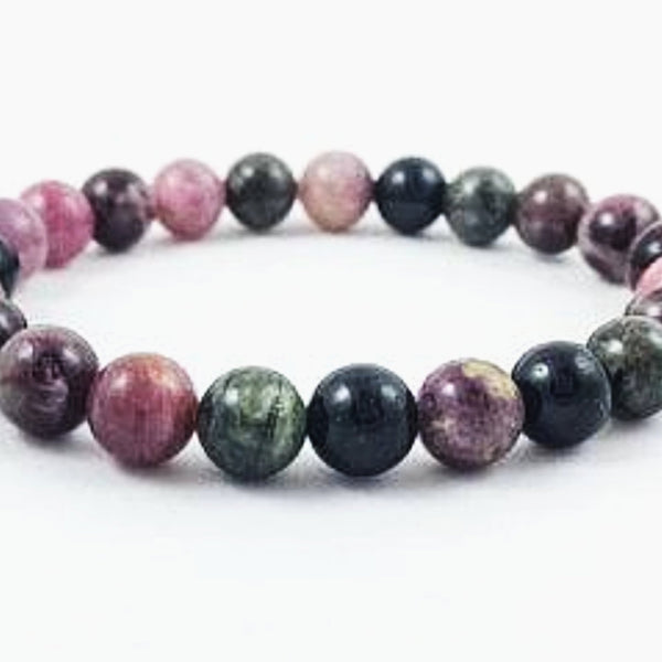 Watermelon Tourmaline Power Bracelet for Matters of the Heart-6mm - New Earth Gifts