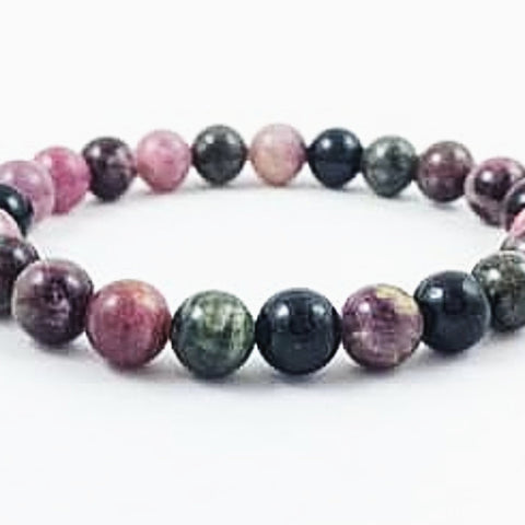 Watermelon Tourmaline Power Bracelet for Matters of the Heart-8mm - New Earth Gifts