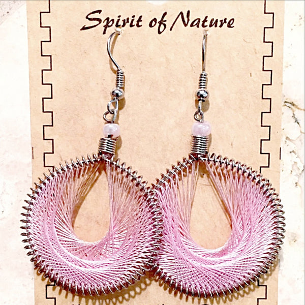 Thread Earrings Central American Style Pink Hue -New Earth Gifts