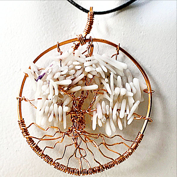 Tree of Life Pendant - White Coral For Sale New Earth Gifts
