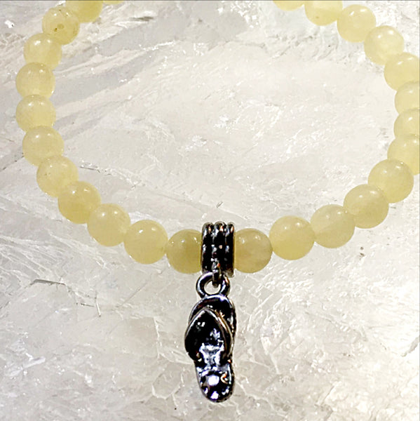 Yellow Jade Bracelet with Flip Flop Charm - New Earth Gifts