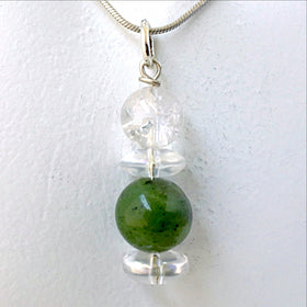 Jade and Quartz Crystal Prosperity Pendant - New Earth Gifts and Beads