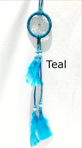 Dream Catchers of Turquoise Leather and Beads | New Earth Gifts