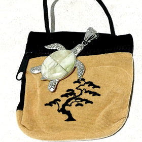 Sea Turtle Pendant with Velveteen Pouch - New Earth Gifts and Beads