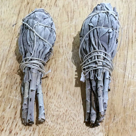 "Sage California White Smudge Sticks - 4"" Set of 2 - New Earth Gifts and Beads"