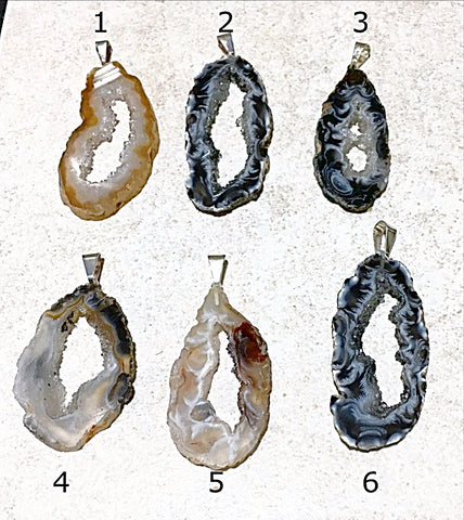 Agate Geode Slice Pendants Styles 1-6 - New Earth Gifts and Beads