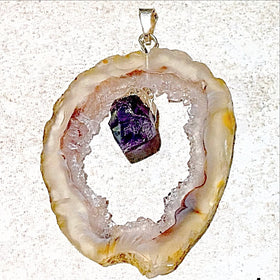 Agate Geode Slice With Amethyst Point Pendant 1 - New Earth Gift