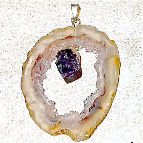 Agate Geode Slice With Amethyst Point Pendant Style 1 - New Earth Gifts and Beads