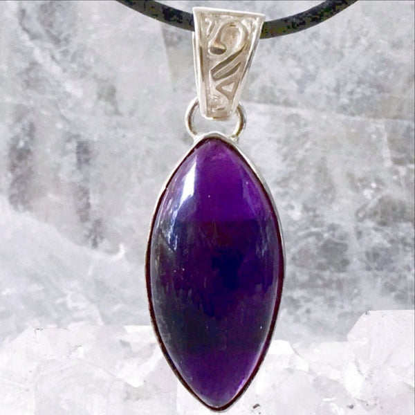 Amethyst Pendant - Sterling Silver, Long Marquis - NewEarth Gifts