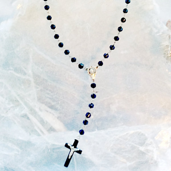 Rosary of Hematine and Crystal Beads - New Earth Gifts and Beads