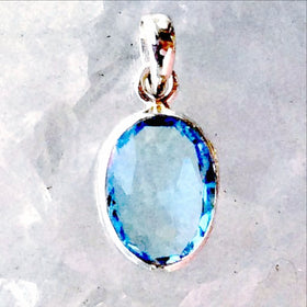 Sterling Blue Topaz Oval Faceted Pendant - New Earth Gifts and Beads