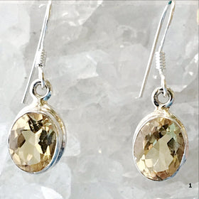 Sterling Citrine Faceted Oval Earrings - New Earth Gifts