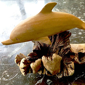 Wood Dolphin Carving - New Earth Gifts and Beads