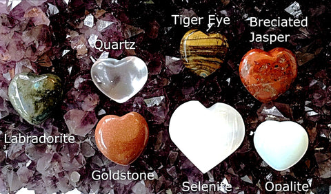 Gemstone Hearts - Various Gemstone Choices, 30mm - Style 1 - New Earth Gifts and Beads