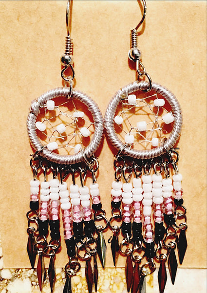 Dream Catcher Earrings Pink and White - New Earth Gifts and Beads