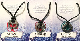 Zodiac Pewter Pendant Necklaces - Aries, Taurus, Cancer - New Earth Gifts and Beads