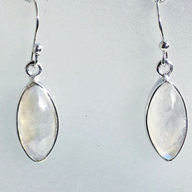 Rainbow Moonstone Marquis Sterling Earrings  - New Earth Gifts and Beads