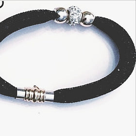 Black Crystal & Mesh Tube Bracelet - New Earth Gifts