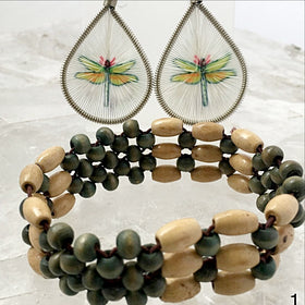 Multi Strand Green and Tax Wood Beaded Bracelet Sets - New Earth Gifts and Beads
