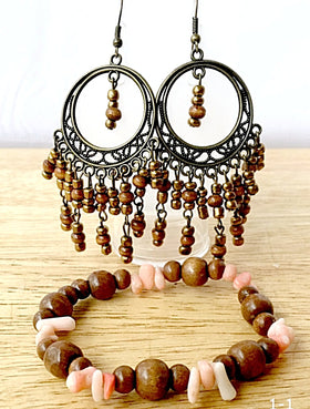 Wood Lacquered Earrings and Beaded Bracelet Sets - New Earth Gifts and Beads