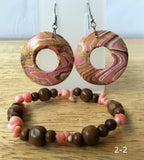 Wood Multi Color Lacquered Earrings  with FREE Bracelet - New Earth Gifts and Beads