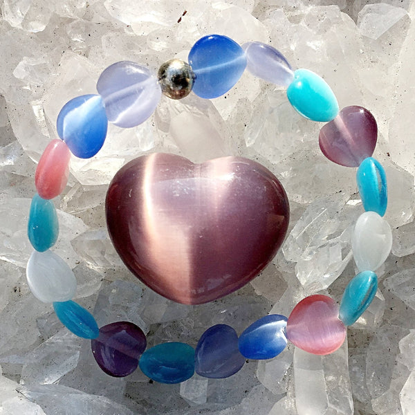 Little Girls Heart Bracelet & Cats Eye Heart | New Earth Gifts