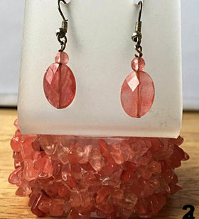 Cherry Quartz Cuff Bracelet Multi Strand with Faceted Earrings - New Earth Gifts and Beads