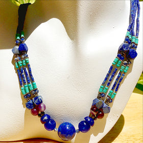 Lapis and Turquoise Necklace - New Earth Gifts and Beads