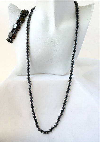 Beaded Hematite Necklace or Magnetic Bracelet - New Earth Gifts and Beads