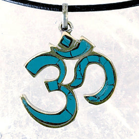 Om Pendant from Nepal - Brass with Turquoise Inlay- New Earth Gifts and Beads