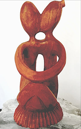 Wood Wine Holder | Hand Carved Kissing Couple - New Earth Gifts and Beads