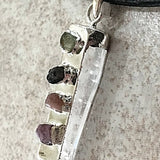 Watermelon Tourmaline Chips on Natural Quartz Points - New Earth Gifts and Beads