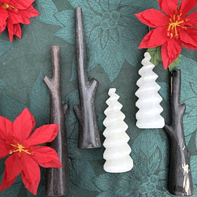 Petrified Wood Limbs and Swirly Selenite Christmas Trees - New Earth Gifts