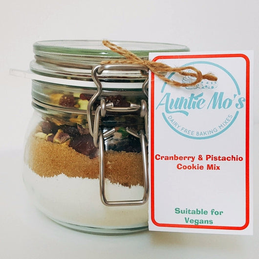 Cranberry and Pistachio Cookie Mix in a Jar - Auntie Mo's