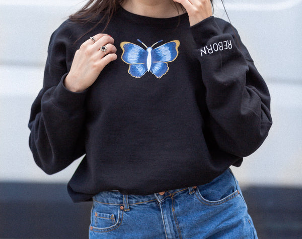 REBORN Hand Painted Butterfly Sweatshirt