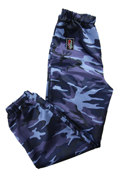 'Evolve' Satin Blue Camo Trousers **Limited Edition**